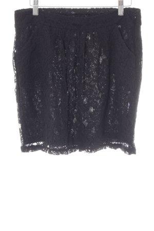 edc Jupe en dentelle noir motif floral style classique