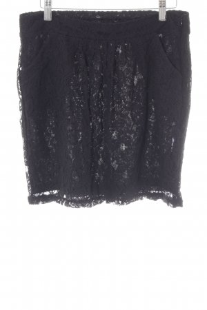 edc Spitzenrock schwarz florales Muster klassischer Stil