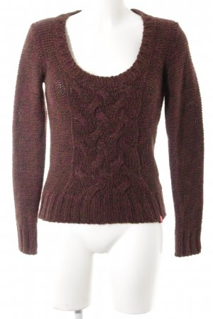 edc Strickpullover braun-purpur Zopfmuster Casual-Look