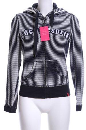 edc Sweatjacke schwarz-weiß Streifenmuster Casual-Look