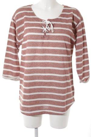 edc Sweatshirt rostrot-wollweiß Streifenmuster Casual-Look
