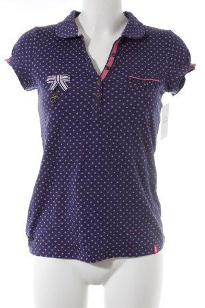 edc T-Shirt dunkelblau-rosa Punktemuster Street-Fashion-Look