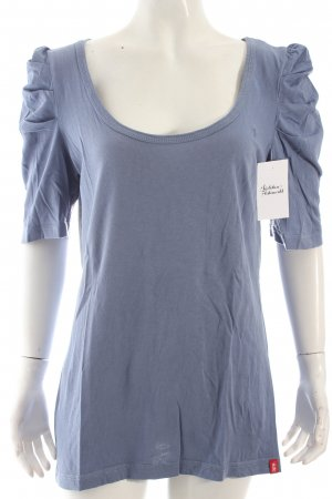 Edc T-Shirt kornblumenblau Logostickerei