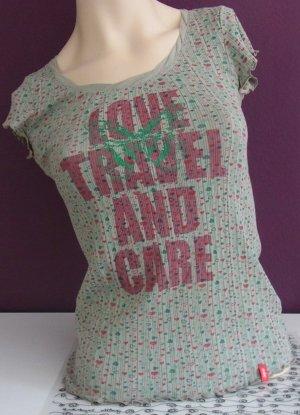 edc T-Shirt mit Glitzerprint und Rollkanten in Olivgrün