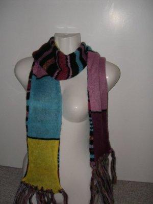 EDC, toller XXL zweiseitiger Schal, Blau, Rot, Rosa