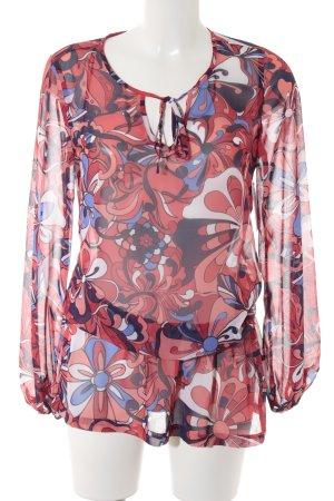edc Transparenz-Bluse rot-dunkelblau Blumenmuster Casual-Look