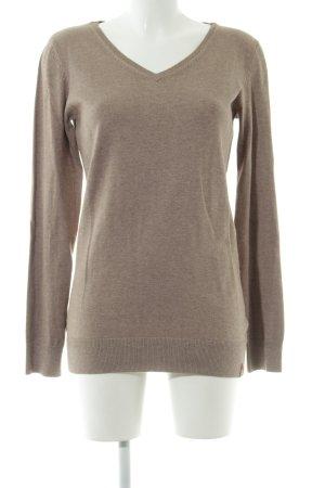 edc V-Ausschnitt-Pullover braun meliert Casual-Look