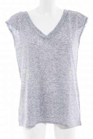 edc V-Ausschnitt-Shirt hellgrau-stahlblau meliert Casual-Look