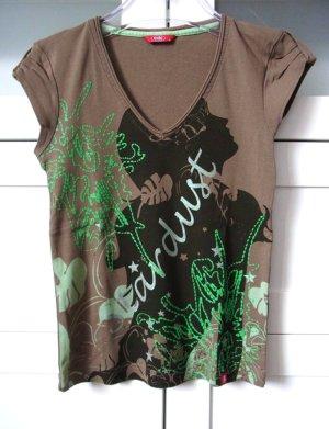 edc V-Shirt Frontprint Gr. S Grün Grau verzierter Kurzarm