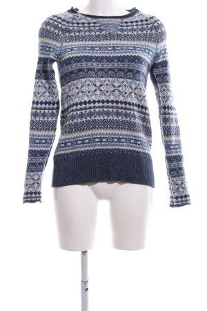 Eddie Bauer Noorse trui blauw-wit volledige print casual uitstraling