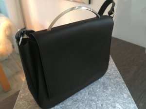 Crossbody bag black-silver-colored leather