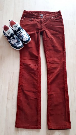Pantalon en velours côtelé cognac-rouille