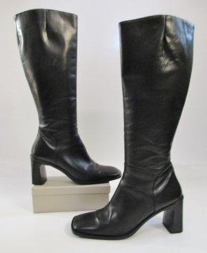 Edel echt Leder Stiefel Paul Green Größe 40 6,5 Schwarz Eckig Reiter Overknees Elegant Schlicht Business Glattleder