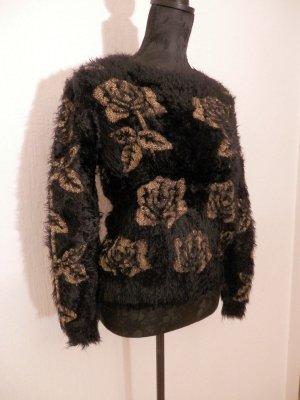 Edel Fashion Blogger Strick Flausch Kuschel Pullover Flower Mohair NEU