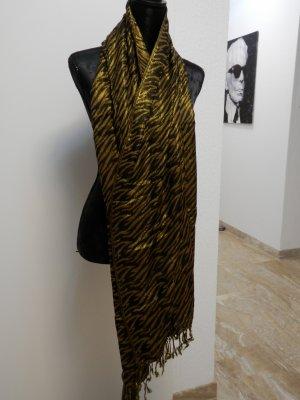 Edel Fashion Blogger XXL Tuch Schal Gold Metallic Animal Print Halstuch NEU