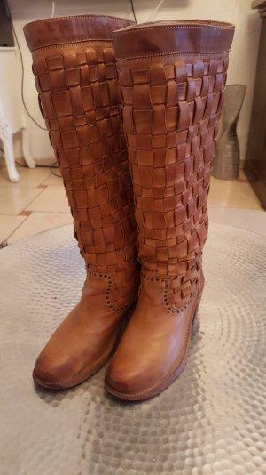 Edel Luxus Frye Woven Stiefel Flechtleder Nieten Farbe Cognac