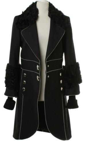 Edel Luxus ICEBERG Damen Mantel Schwarz Gr. S mit Echtfell