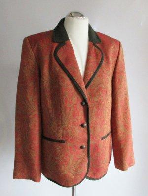 Edel Paisley Blazer h. Moser Mode aus Salzburg Größe 44 Rost Orange Grün Jaquard Viskose Wolle Jacke Trachten Gutshof Brokat