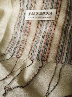 Edel-Pashmina aus Kacshmir und Seide, cremefarben mit bunten Streifen außen