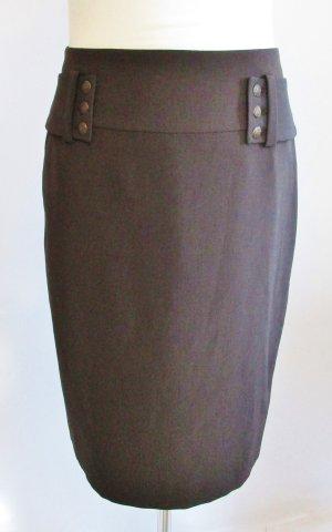 Edel Pencil Skirt Rock 123 Paris Größe M 38 Dunkelbraun Braun Militäry schmaler Rock Midi Gürtel Nieten Büro Business
