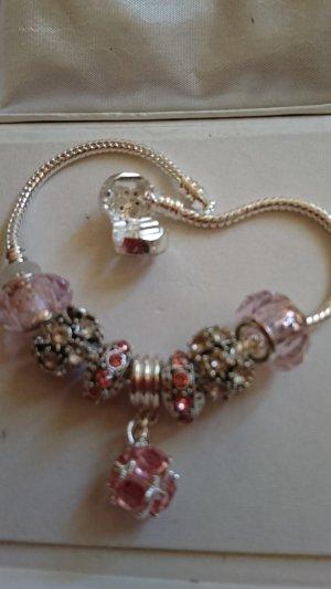Edel Silber Armband mit /7 Charms /Beads /20 cm lang .