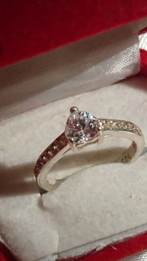 Edel Silber Ring 925 mit Zirkonia Herz Ring Gr. 18