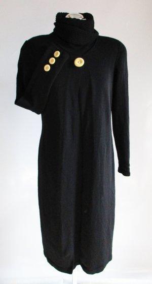 Edel Strickkleid Kleid Mike Korwin Größe UK 12 D 40 M Schwarz Rollkragen Vintage 80er elegant Lagenlook Midikleid Winterkleid Strick