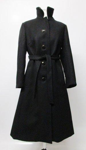 Edel Vintage Mantel 50er Hucke Größe M 38 Schwarz Stehkragen Gürtel Schurwolle Viskose Nylon lange Jacke Loden Retro Elegant A Form