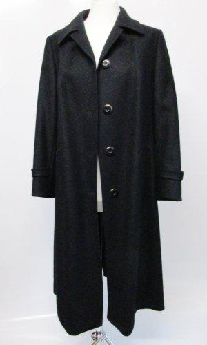 Edel Vintage Wollmantel Hucke Größe 42 L Schwarz Elegant Trenchcoat  Schurwolle Mantel Jacke