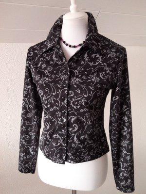 edele Bluse,schwarz mit silber Blumenprint,top!, Pimpkie