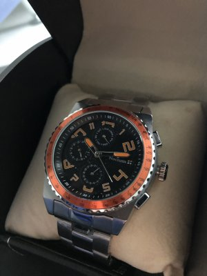 Watch With Metal Strap black-orange stainless steel