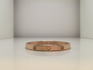 Bangle silver-colored-rose-gold-coloured stainless steel