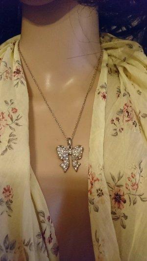 Edelstahl Halskette mit Anhänger   Strasssteine-  Oma Schmuckkästen
