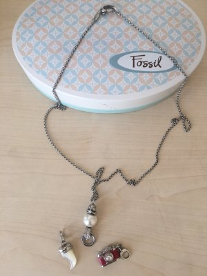 Fossil Necklace silver-colored-natural white