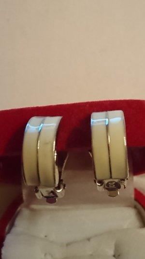 Pendientes de clip color plata-crema
