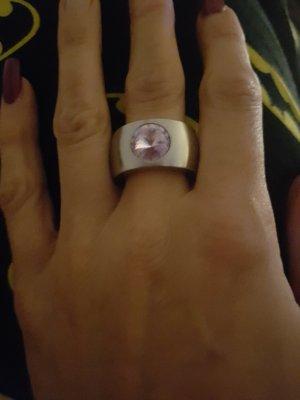 Edelstahl Ring mit lila Stein Gr 60 neu