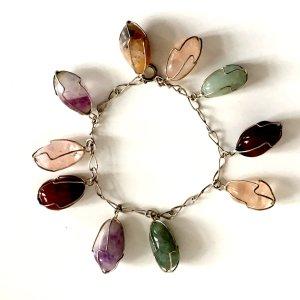 Edelstein Amethyst Karneol Rosenquarz Vintage Charm Armband Boho 60er 70er Silber Draht