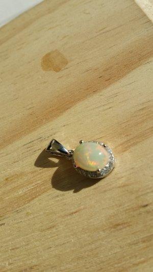 Edelstein Anhänger  mit  natürlichen Feuer Opal Silber 925