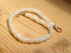 Handmade Bracelet baby blue-cream real gold