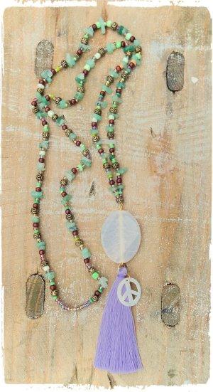 Edelstein Hippie Boho coachella Kette saphir agate opal