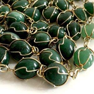 Edelstein Jadekette Vintage jade Modern Art endlos Kette Gold Draht 60er 70er Silber Draht Gold