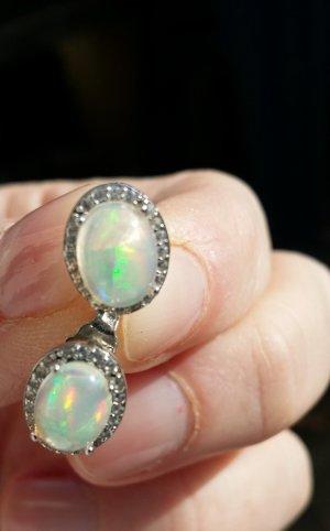 Edelstein Ohrringe mit natürliche Feuer Opale Silber 925 Handarbeit