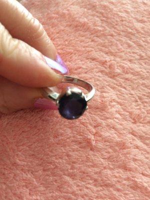 Bague en argent argenté-bleu violet argent