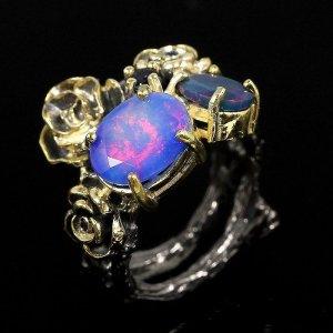 Edelstein Ring mit Boulder Opale Silber 925 und Gold Handarbeit