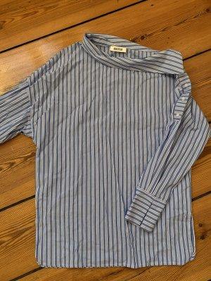 EDITED Bluse 34 blau weiß gestreift asymmetrischer Kragen Knopfleiste an der Schulter
