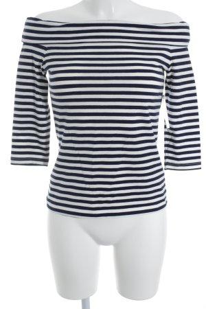 Edited Carmenshirt wollweiß-blau Ringelmuster Marine-Look