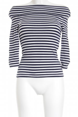 Edited Carmen Shirt natural white-blue striped pattern street-fashion look