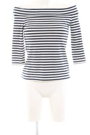 Edited Carmen shirt wolwit-donkerblauw gestreept patroon casual uitstraling
