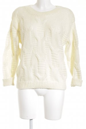 Edited Coarse Knitted Jacket cream-pale yellow cable stitch casual look