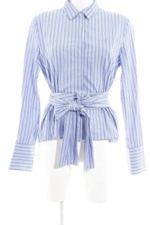 Edited Hemd-Bluse wollweiß-kornblumenblau Streifenmuster Street-Fashion-Look
